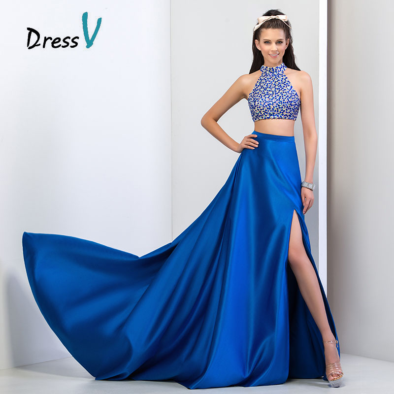 Blue Two Piece Prom Dress