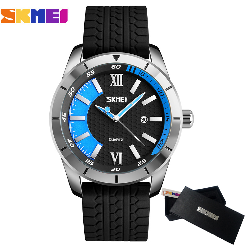 Mens Watches SKMEI Brand Luxury Casual Men Waterproof Quartz Sports Wristwatch Silicone Strap Male Clock watch relogio masculino skmei luxury brand stainless steel strap analog display date moon phase men s quartz watch casual watch waterproof men watches