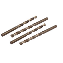 Uxcell 4pcs Newest 5.5/6.5mm Drilling Dia. M35 HSS Cobalt Spiral Flute Champagne Color Metric Twist Drill Bit for Rotary Tool