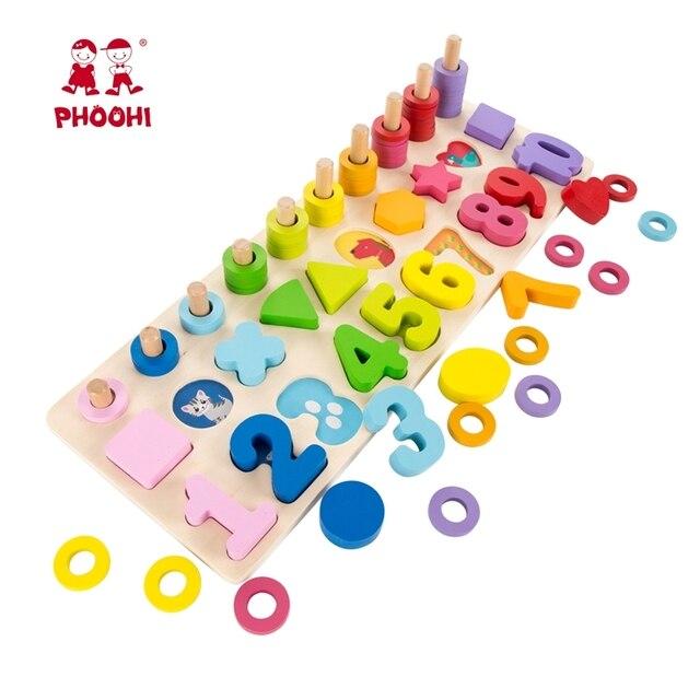 Bebé madera Montessori Material educativo juguete niños Aprendizaje Temprano forma infantil juego de juguete para 3 años de edad PHOOHI