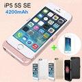 4200 mah usb power bank pacote de backup de carga da bateria titular case para iphone 5 se 5s com vidro temperado cabo usb