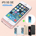 4200mAh USB Power bank Pack backup battery Charge Holder Case For iPhone 5 SE 5S with Tempered glass USB cable