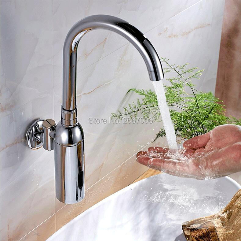 Free shipping DC Battery Hotel automatic cold water faucet Wall Mounted sensor faucet bathroom hospital medical auto taps ZR6402