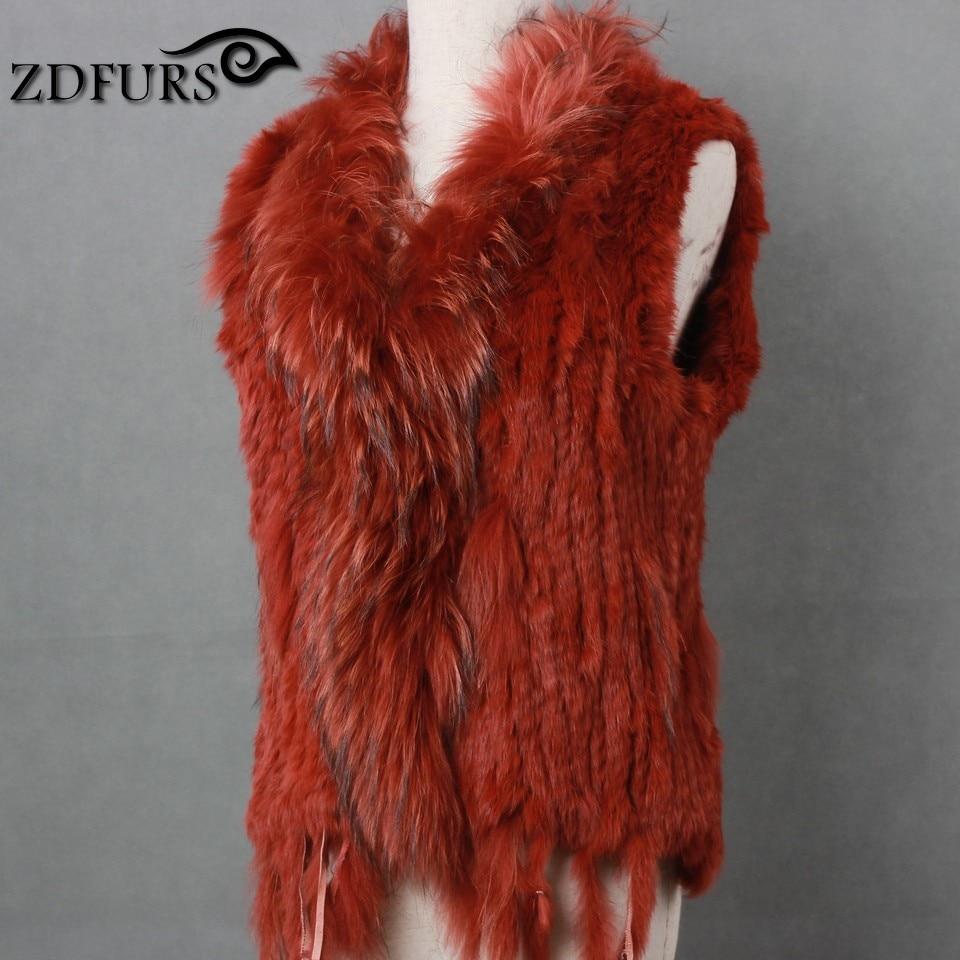 FXFURS natural real rabbit fur vest with raccoon fur collar waistcoat jackets rex rabbit knitted winter