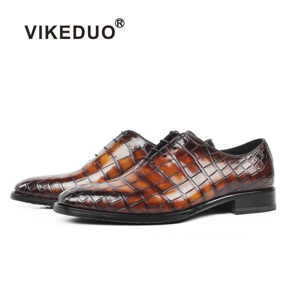 VIKEDUO New 2019 Genuine Crocodile Leather Shoe For Men Plaid Oxford Dress Shoe Male Brown Wedding Office Formal Footwear Zapato