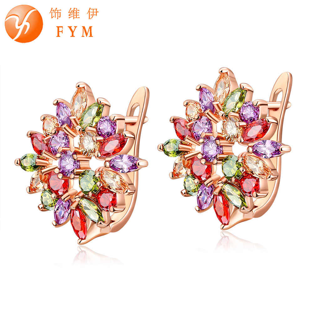 FYM Brand Fashion Colorful Flower Statement Bijoux CZ Zircon Brincos Hoop Earrings For Women Party Jewelry Boucle d'oreille