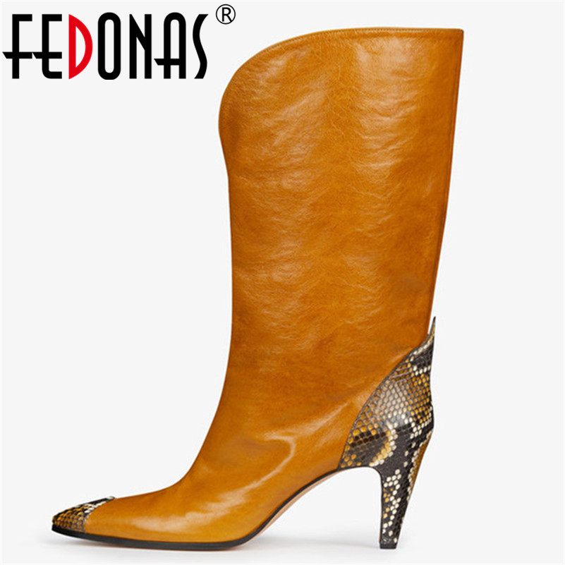 FEDONAS Brand Knee High Boots Women High Heels Autumn Winter Long Party Prom Shoes Woman Pointed Toe Night Club Prom Pumps women sexy prom night club black