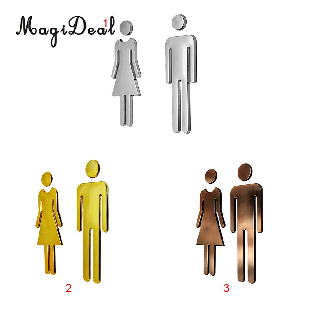 MagiDeal Man&Woman WC Decals Toilet Signs Restroom Washroom Signage Plaque Silver for Hotel Store Shopping Center Restaurant ...