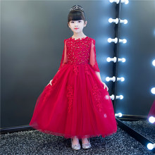 Appliques Red Lace Tulle Flower Girl Dress for Wedding Princess Ball Gown Party Birthday Dress Kids First Communion Dresses high quality lace girl dresses children flower princess dress big girl ball gown baby kids wedding costume birthday vestidos