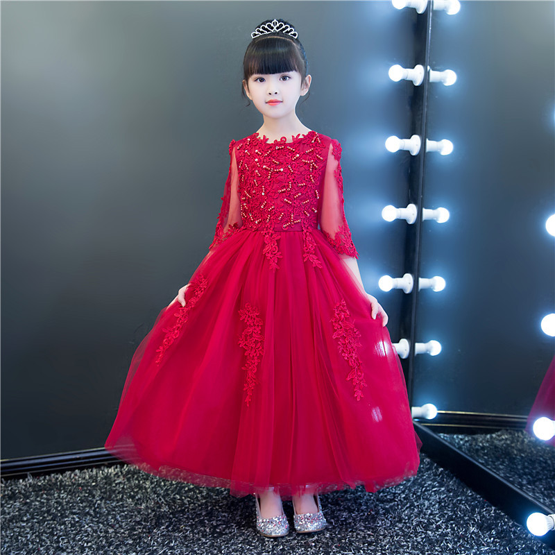 Appliques Red Lace Tulle   Flower     Girl     Dress   for Wedding Princess Ball Gown Party Birthday   Dress   Kids First Communion   Dresses