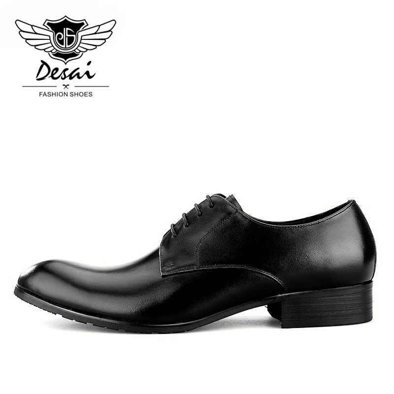 Desai New Genuine Leather Shoes Men Business Casual Shoe British Pointed Toe Comfortable Dress Shoes for Men in Formal Shoes from Shoes