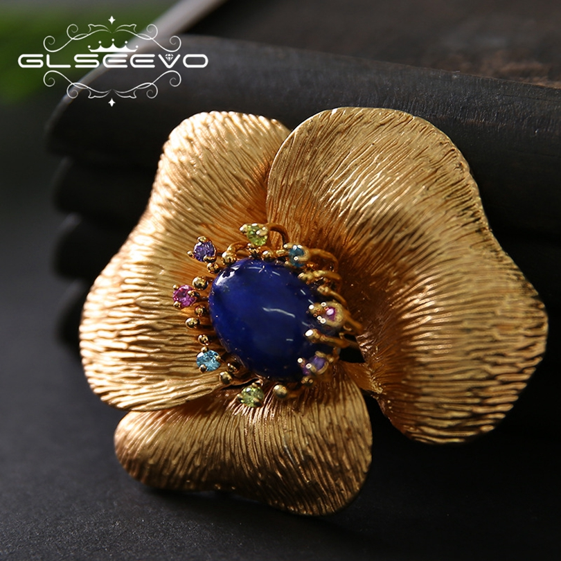 GLSEEVO Natural Lapis Lazuli Flower Brooch Pins And Brooches For Women Accessories Birthday Gifts Dual Use Luxury Jewelry GO0183 glseevo natural lapis lazuli flower brooch pins and brooches for women accessories birthday gifts dual use luxury jewelry go0183
