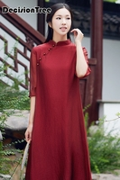2019 summer chinese style dress vietnam aodai chinese traditional dress sleeve cheongsam dress knee length qipao