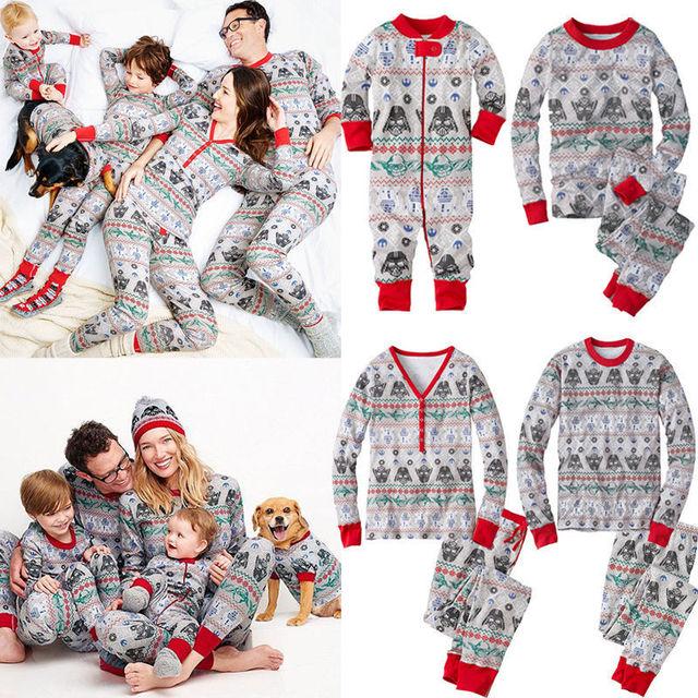 Christmas Family Pajamas Set Mon Dad Kids Newborn Baby Winter - family mon