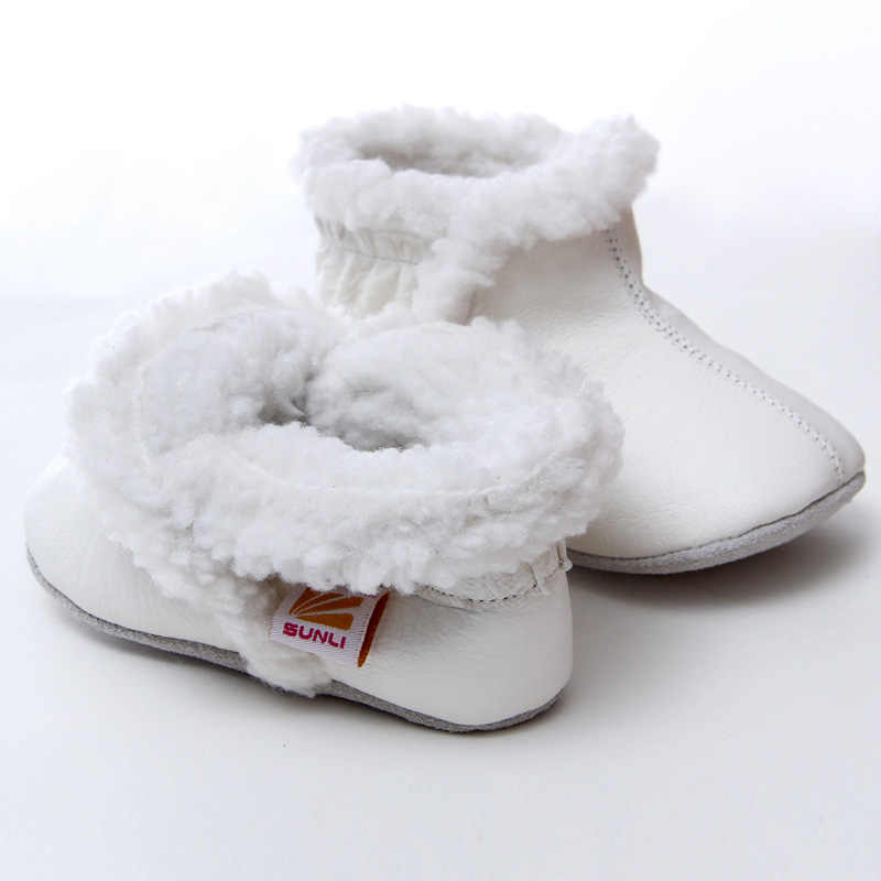 Botas de cuero para bebé, botas de invierno para la nieve para niña, botas cálidas para bebé, botas de nieve para niños, zapatos para niños de 0 a 24 m, botines de suela blanda para niño