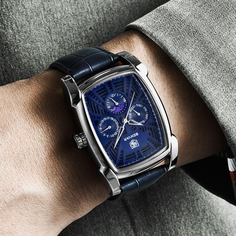 Benyar Square Men Watch Top Brand Luxury Business Waterproof Quartz Leather Sport Wrist Watch Men Clock Male Relogio Masculino