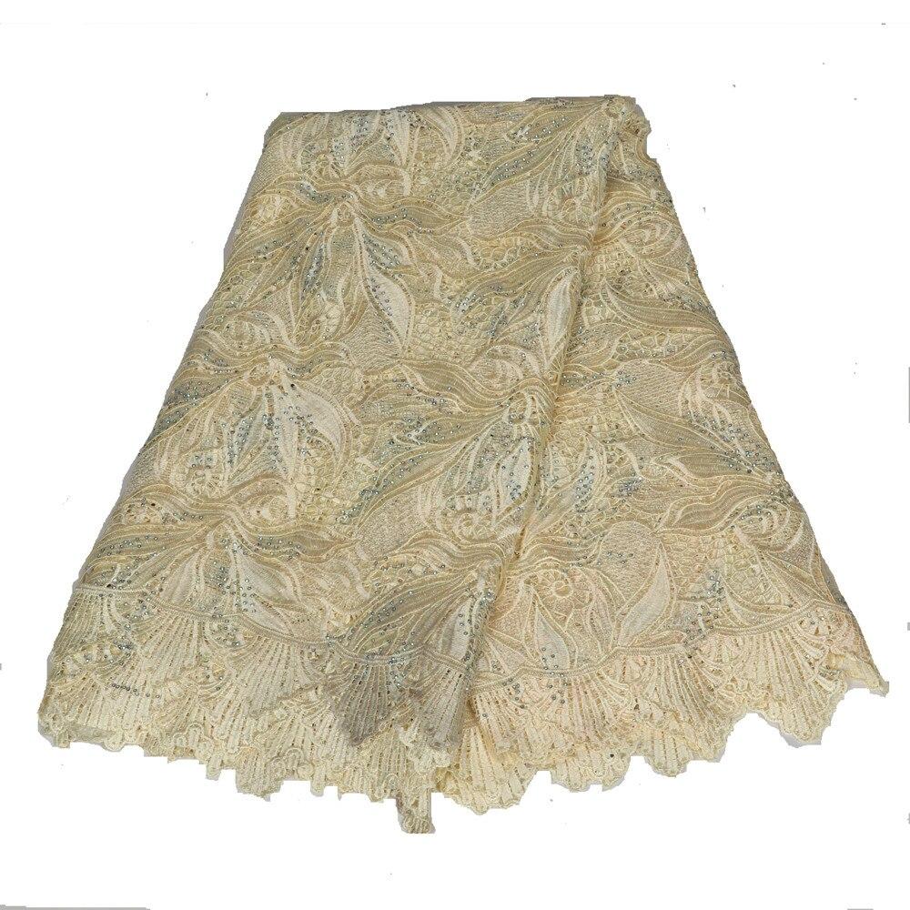 Tissu de dentelle africain de haute qualité diamant tissu de dentelle soluble dans l'eau pour les femmes Hk23-1