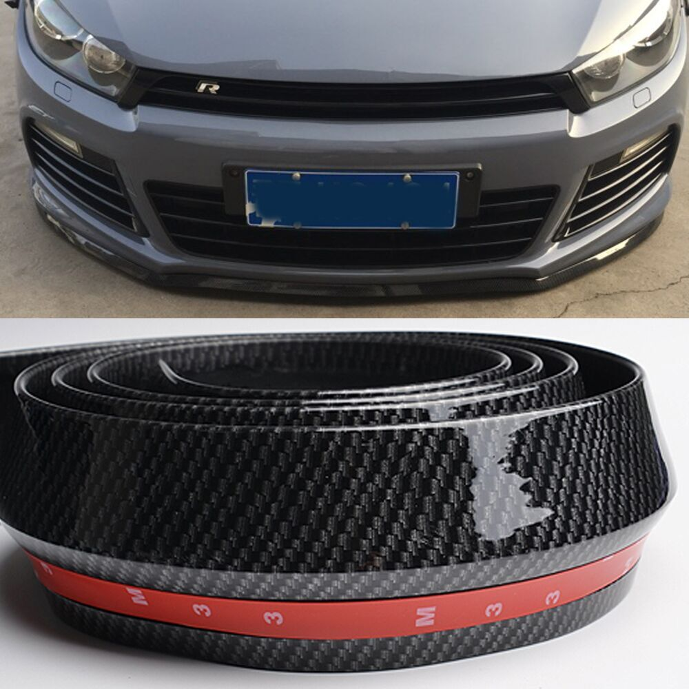Aliexpress com buy universal pu carbon fiber front lip splitter chin spoiler side skirt body kit trim 2 5 meters for audi bmw volkswagen benz from