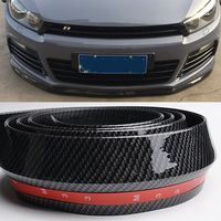 Universal PU Carbon Fiber Front lip Splitter Chin Spoiler Side Skirt Body Kit Trim 2.5 Meters for Audi BMW Volkswagen Benz