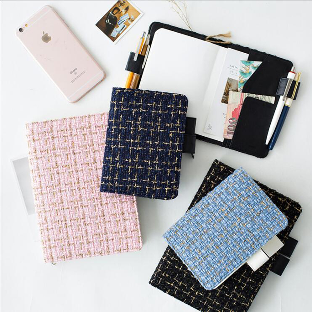 A5A6 Creative Fabric Cover Exchangeable Filler Papers Notebook Daily Traveler's Noted Journals School Student Planner Diary