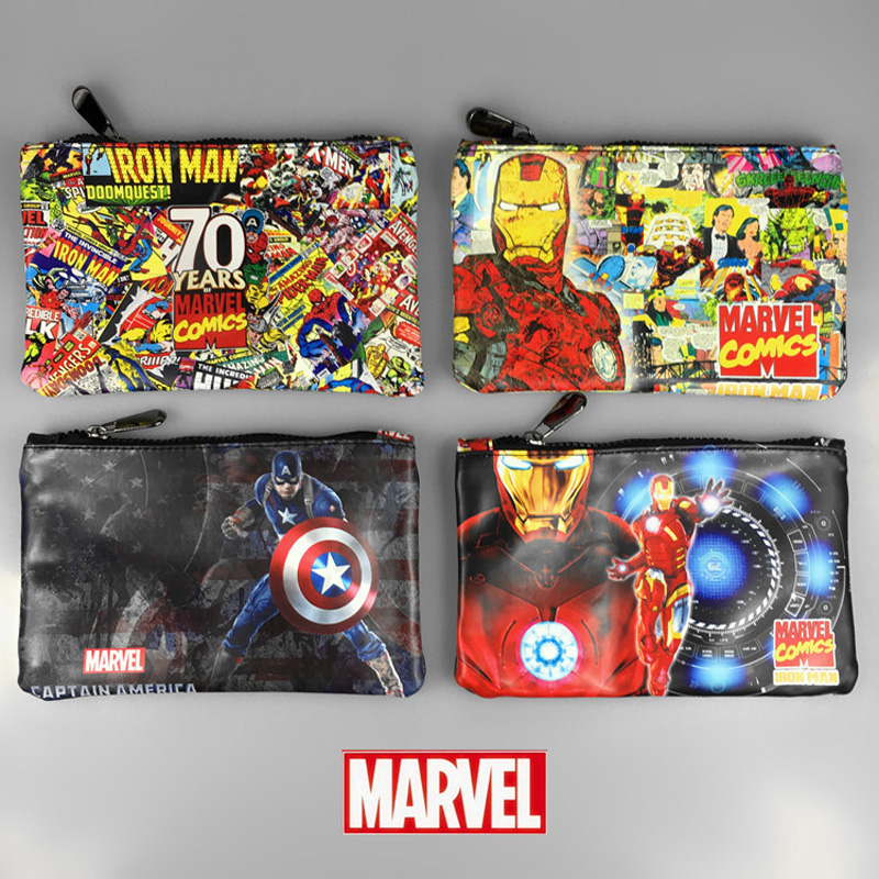 DC Marvel Comics Pencil Wallets Avengers Hero Captain America Spider Man Iron Man Rectangle Long Pencil Bag Zipper Pouch Purse marvel comic stationery pencil purse case superman batman captain america spider man iron men deadpool long zipper pen wallets