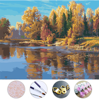 Diy Oil Painting Riverside Woods Drawing Frameless Picture On Wall Acrylic Painting By Numbers On The