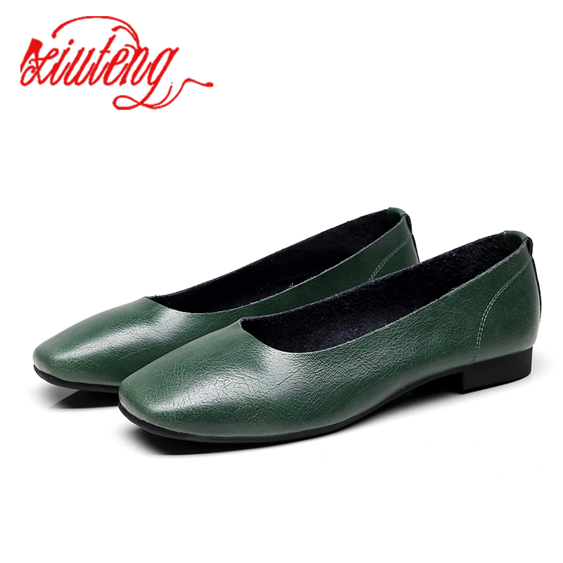 Main Fait Vintage Tailles blanc Semelles Chaussures kaki Femmes Dames Casual Xiuteng En Automne De rouge Mous vert Appartements Nouveau Cuir Grandes Véritable gris Noir wW84zqA5Xx
