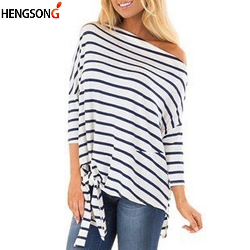 Harjuku Striped  Casual  T-Shirt Women Sexy Slash Neck One Shoulder Top  Autumn Three-Quarter Sleeve Hem Lace-up  TShirt