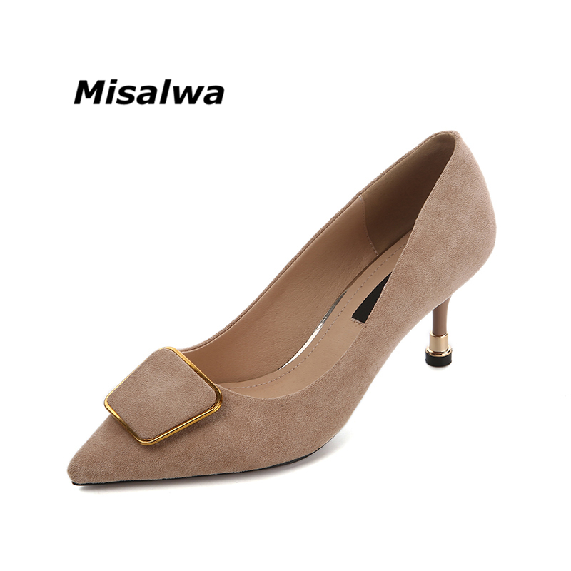 Misalwa 2018 New Fashion High Heel Women Pumps Thin Heel Charm Black Khaki Caramel Pointed Toe Stiletto Wedding Shoes craylorvans top quality 8 10 12cm women pumps new fashion leopard color pointed toe high heel wedding shoes ultra thin high heel