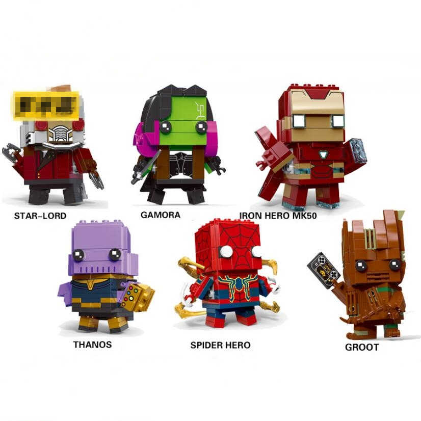 Marvel  Avengers Brickheadz Figures Super Hero DC Justice League Brick Heads Iron Man toy Spider Man Building Blocks Kids