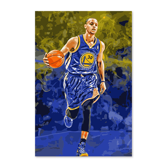 DIY Digital Painting, Decorating Room, Stephen Curry NBA Warriors American Professional  ...