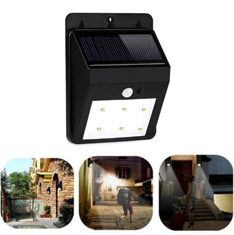 New 6 LED Solar Power PIR Motion Sensor Wall Light Ou