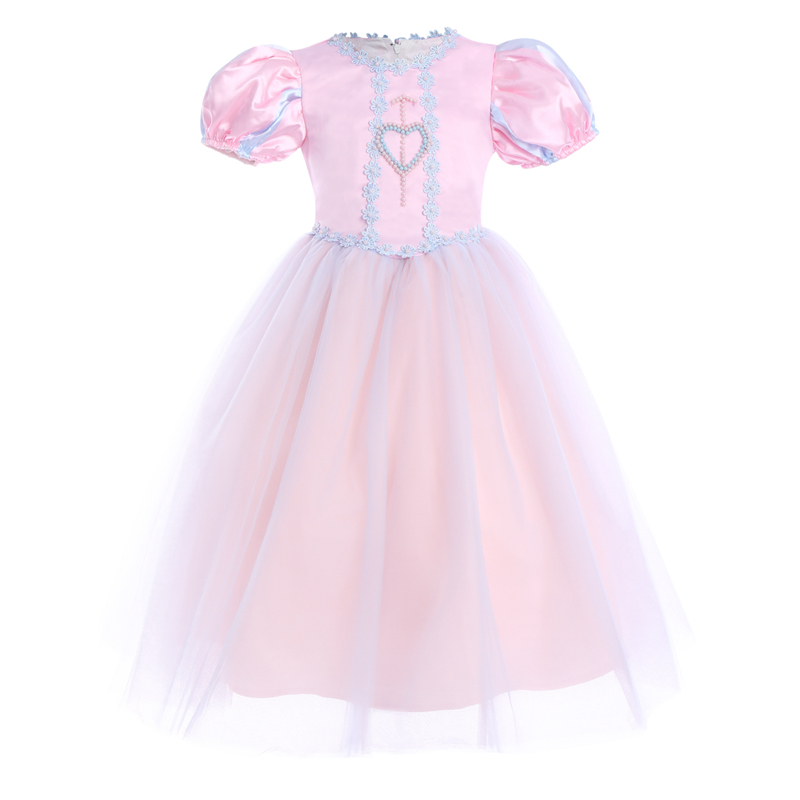 elegant girls Princess Dress Beading Puff Sleeve Tulle Spliced Long Kids Girls Birthday Fairy Tale Fancy Up