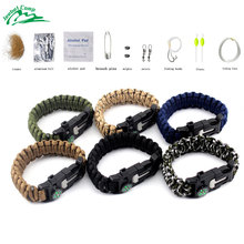 Jeebel Outdoor Survival Bracelet Fishing Kit 505 Paracord Multi-function Camping  Compass Whistle SOS Set First Aid Medical