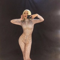 Customize Women Sexy Nightclub Costumes for Singer Sparkling Crystals Bodysuit Nightclub Costumes Party Dancer Singer Bodysuit