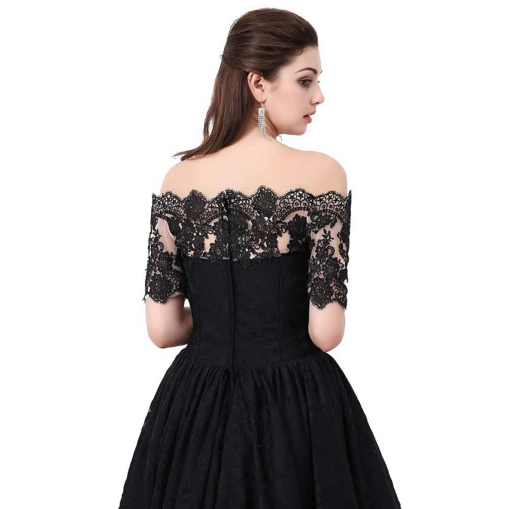 Hi Low Prom Vestido De Hombro Hermosos Vestidos Para Adolescentes Talla Grande Negro Encaje Vestidos De Fiesta Bata De Noche