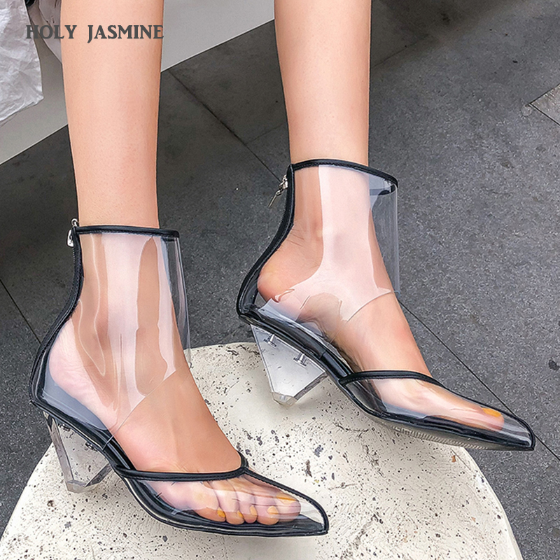 2019 New Sexy Transparent Clear PVC Women Ankle Boots High Quality Pointed Toe High Heels Spring/Autumn Zipper Boots Size 34-432019 New Sexy Transparent Clear PVC Women Ankle Boots High Quality Pointed Toe High Heels Spring/Autumn Zipper Boots Size 34-43
