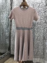 2017 new women's short-sleeved Slim wave knit dress 821