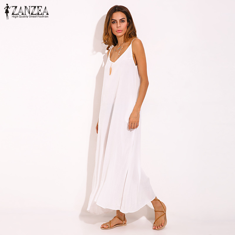 Vestidos 2018 Sommer ZANZEA Frauen Boho Liebsten Sexy V-ausschnitt Ärmelloses Kleid Beiläufige Lose Lange Maxi Feste Kleid Weiß Übergroßen