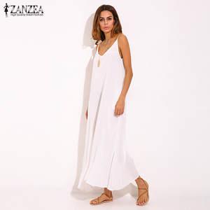 f4017d6b6451 Vestidos 2018 Summer ZANZEA Women Boho Strapless Sexy V Neck Sleeveless  Dress Casual Loose Long Maxi Solid Dress White Oversized