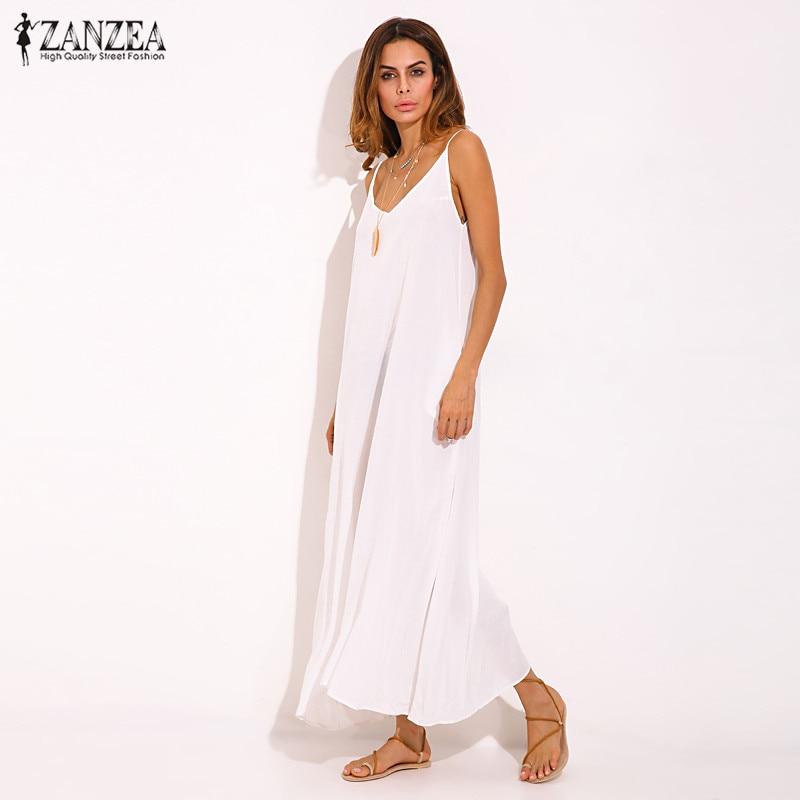 Vestidos 2019 Summer ZANZEA Women  Strapless Sexy V Neck Sleeveless Dress Casual Loose Long Maxi Solid Dress White Oversized