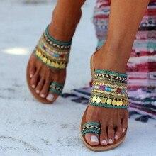 22ffb9495 Sandalias étnicas MUQGEW Mujer Zapatos nueva llegada estilo griego verano Sandalias  planas señoras Bohemia playa flip flop chaus.