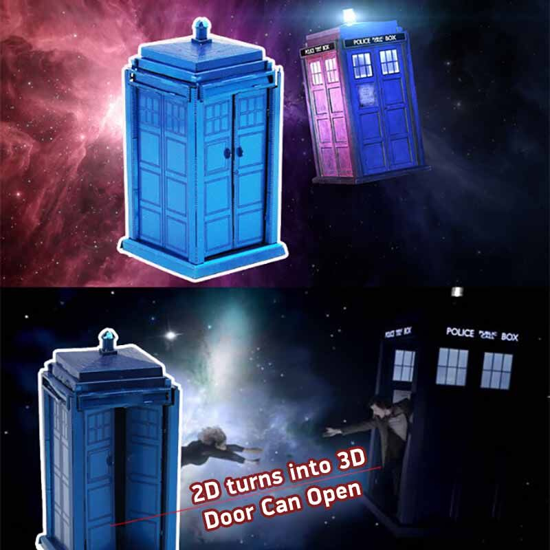 TARDIS 3D Metal Puzzle High-quality MIni Doctor Who Series Puzzles Blue Color Jigsaw Model For Adult Child Kids Educational Toy