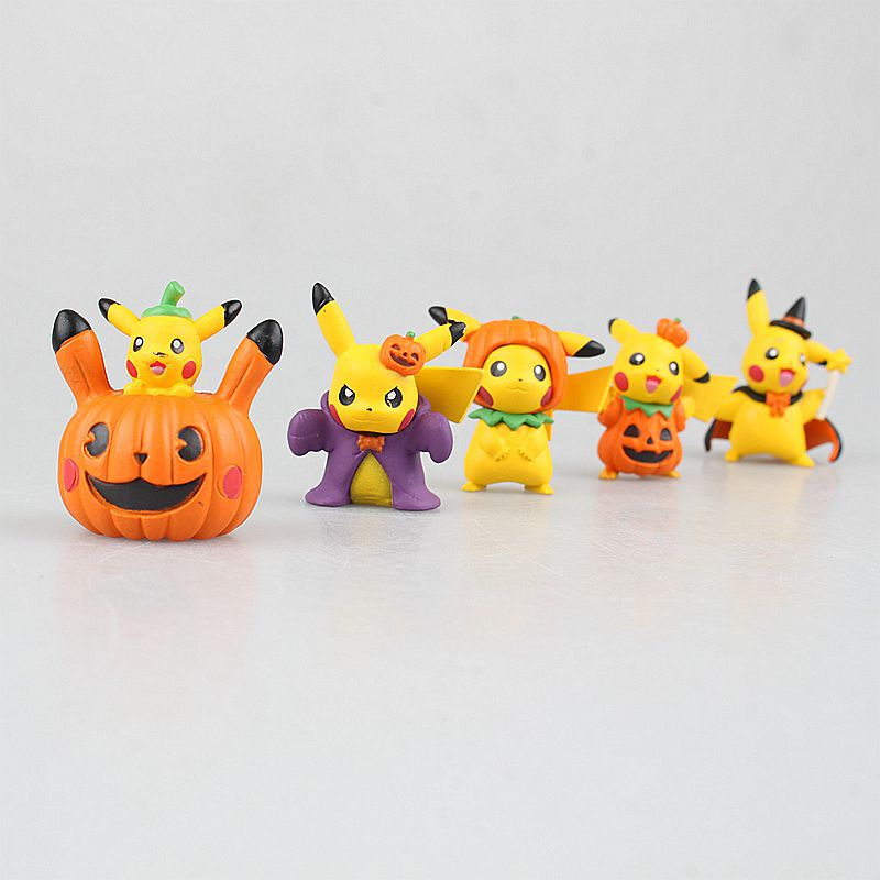 5pcslot action figure funny pikachu halloween cosplay pvc model toy for animation - Animated Halloween Figures