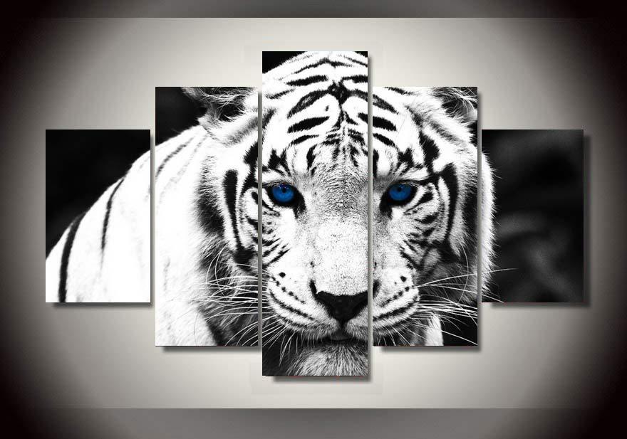 Framed Printed White Tiger Landscape Group Painting Room
