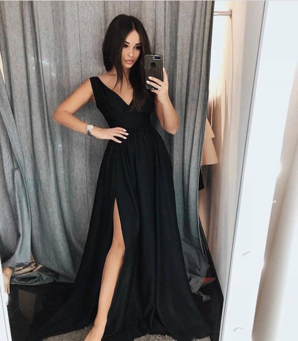 Grande taille noir bal De promo robes formelles 2019 Long Vestido Longo Festa Abiye Gece Elbisesi Vestidos De Gala Robe De soirée