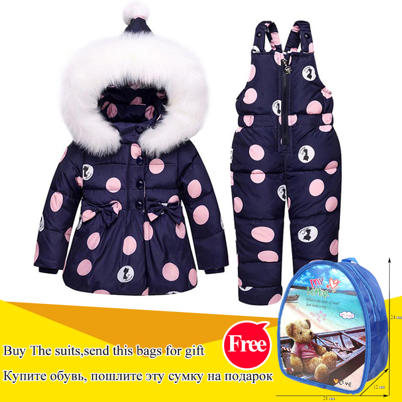 цена на Children's down jacket set new two-piece girls 1-3 years old baby fur collar clothes princess bow-knot down