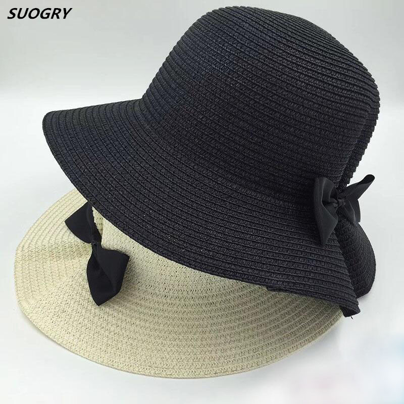 2018 New Hot Lady Boater sun caps Big Bows Top Straw Fedora Panama Hat summer hats for women bowknot straw hat