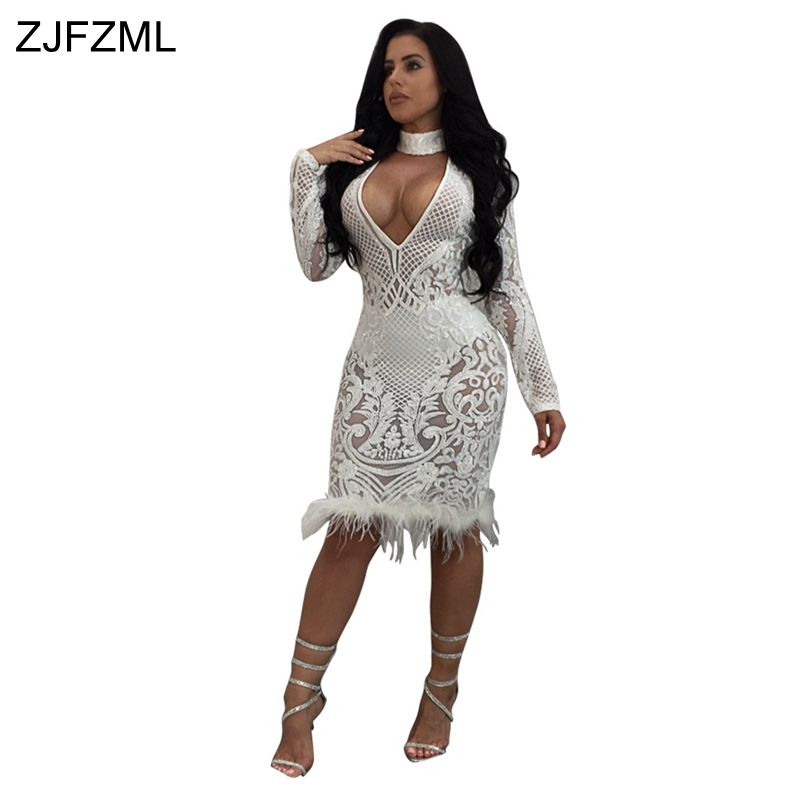 ZJFZML New High quality slim temperate bandage dress women white v neck full sleeve sequin dress sexy black hollow feather dress