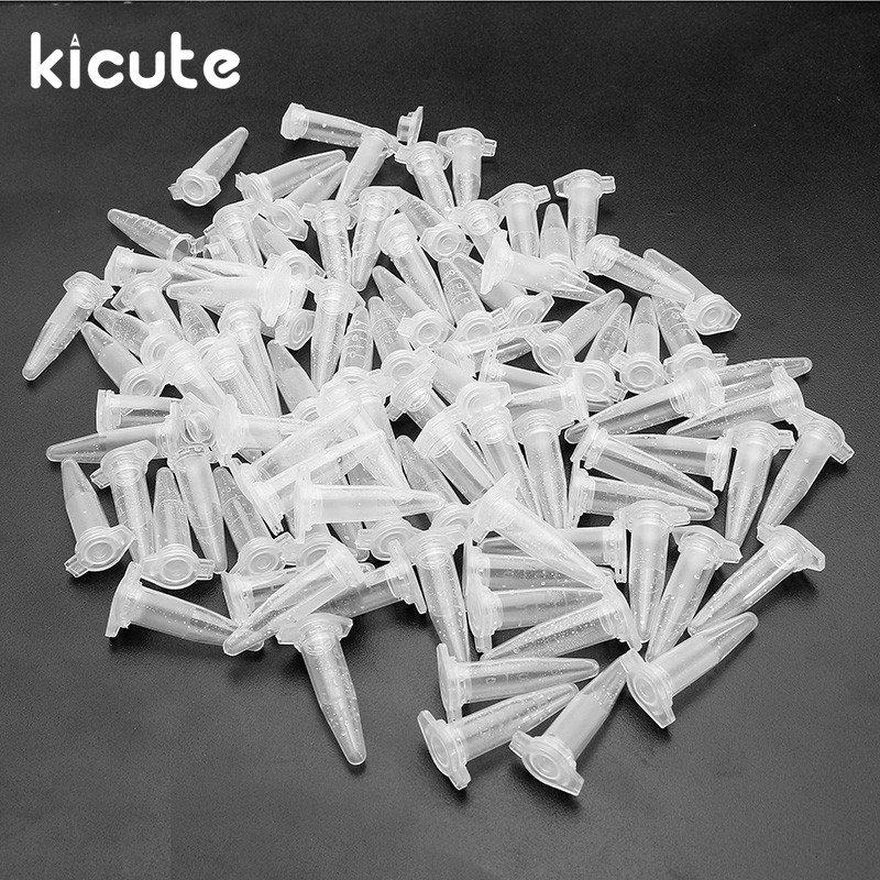 Kicute 100pcs Centrifuge Test Tube Clear Polypropylene Graduated Test Tubes 0.5mL Vial Snap Cap Laboratory Sample Supplies